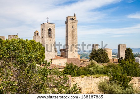 Italy, Tuscany. San Gimignano medieval town with 14 defensive towers