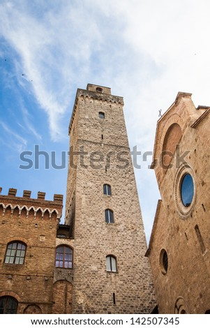 Italy, Tuscany. San Gimignano medieval town with 14 defensive towers - stock photo