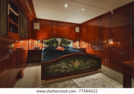Italy, Tuscany, Viareggio, Tecnomar 35 Open luxury yacht, guests bedroom