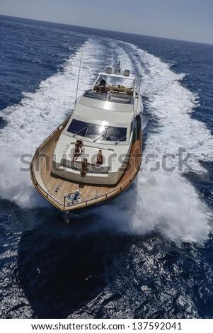 Italy, Tyrrhenian sea, off the coast of Viareggio, 82' luxury yacht, aerial view - stock photo