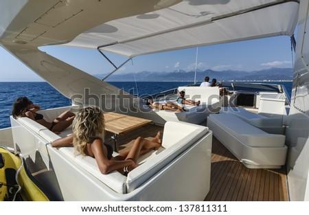 Italy, Tyrrhenian sea, off the coast of Viareggio, 82' luxury yacht, flybridge - stock photo