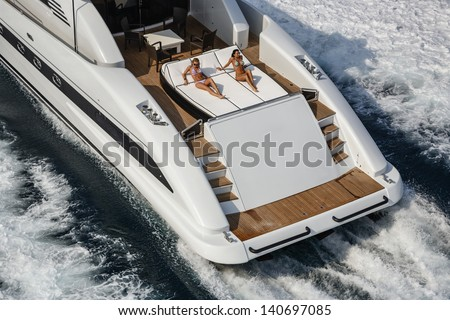 Italy, Tyrrhenian Sea, off the coast of Viareggio (Tuscany), luxury yacht 100',  stern deck, aerial view Kitchen garden products ITALY - Lazio Manziana (Rome) Kitchen garden products - stock photo