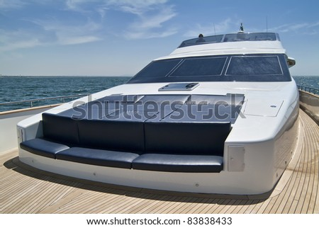 Italy, Tyrrhenian Sea, off the coast of Viareggio (Tuscany), Tecnomar 35 luxury yacht - stock photo