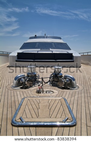 Italy, Tyrrhenian Sea, off the coast of Viareggio (Tuscany), Tecnomar 35 luxury yacht, bow - stock photo