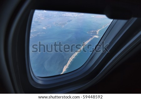Italy, Veneto, Adriatic sea, the venice lagoon seen from an airplane window, aerial view - stock photo