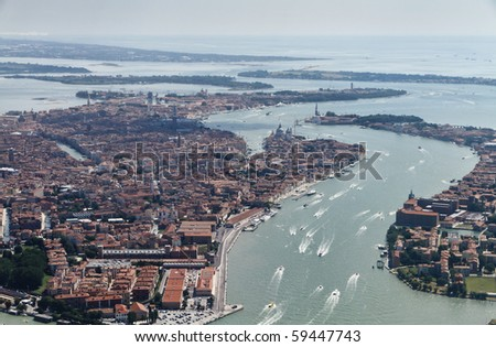 italy, veneto, aerial view of Venice, the Canal Grande and the venetian lagoon - stock photo