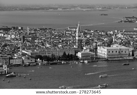 Italy, Venice, aerial view of the city and venetian lagoon - stock photo
