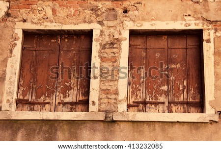 Italy. Venice. Ancient window in the old house. - stock photo
