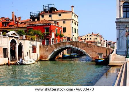Italy. Venice. Grand  canal and architecture - bridge - stock photo