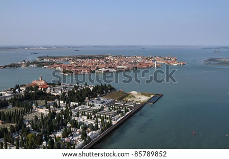 Italy, Venice, Murano Island, St. Michele Island (St. Michele cemetery) and venetian lagoon aerial view