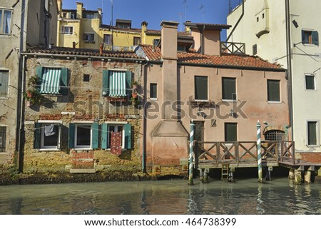 Italy, Venice, palace overlooking the canal.