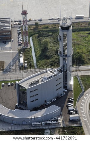Italy, Venice; 14 September 2011, aerial view of the Airport flight control tower - EDITORIAL