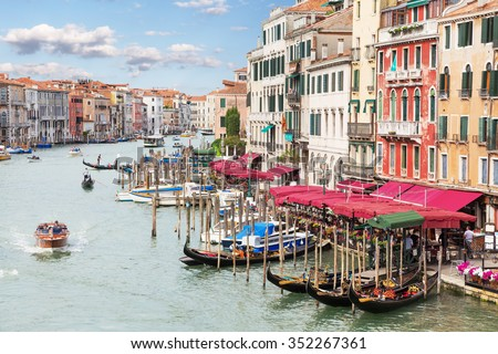 Italy. Venice. View from the Rialto bridge on the Grand Canal - stock photo