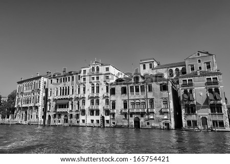 Italy venice view in black and white - stock photo