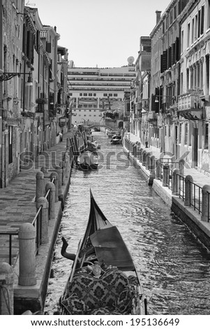Italy venice view in black and white
