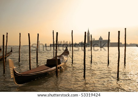 Italy. Venice. View on Grand Canal with gondolas - stock photo