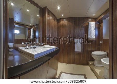 Italy, Viareggio, 82' luxury yacht, guests bathroom