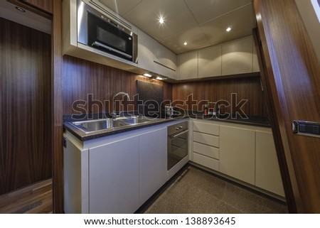 Italy, Viareggio, 82' luxury yacht, kitchen