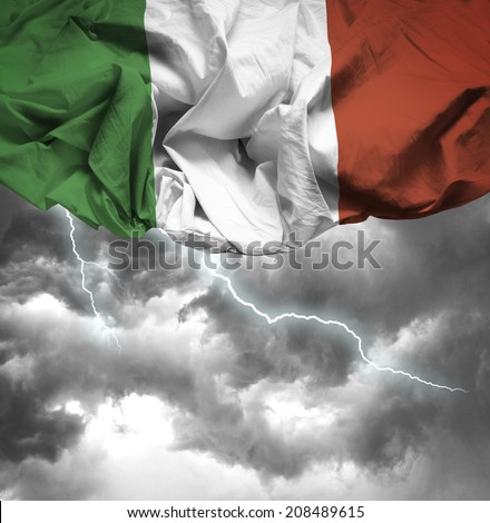 Italy waving flag on a bad day - stock photo