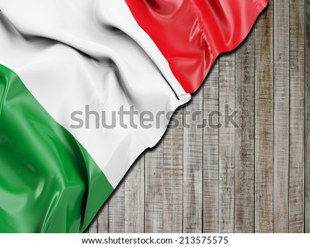 Italy Wavy Flag with vertical wood