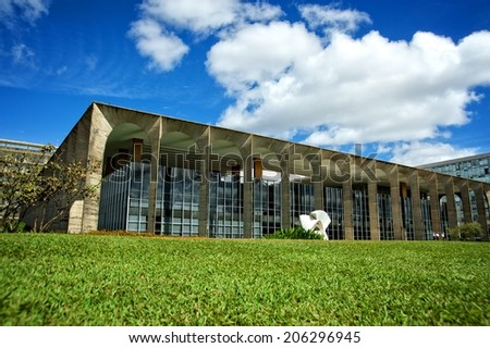 Itamaraty Palace, headquarters of the Ministry of External Relations, in the city of Brasilia, Brazil.