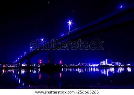 Itchen Toll Bridge at Night looking toward Woolston - stock photo
