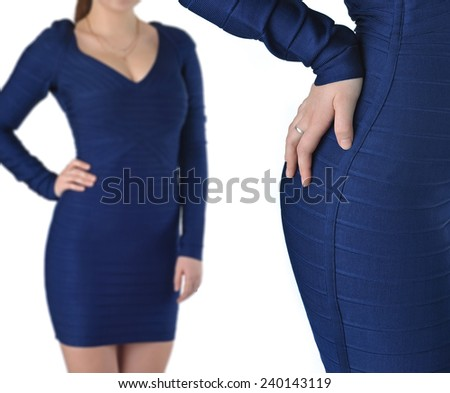 Item of women's clothing, blue dress from two perspectives