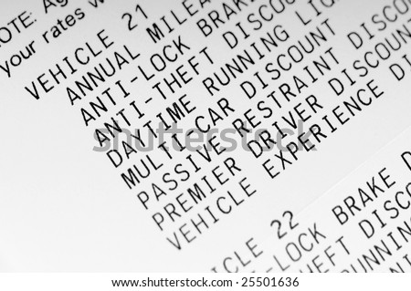 itemized discounts for car insurance - stock photo
