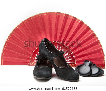 Items for a female flamenco dancer: flamenco shoes, castanets, and a fan