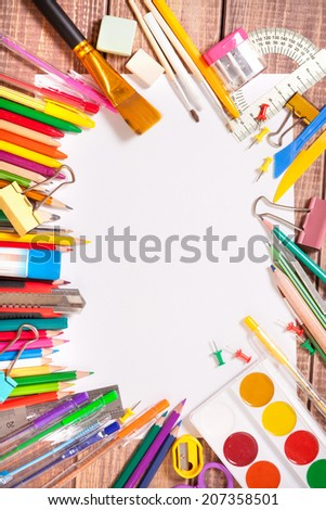 Items for children's creativity, background - stock photo