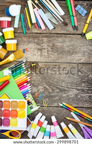 Items for children's creativity on a white background - stock photo