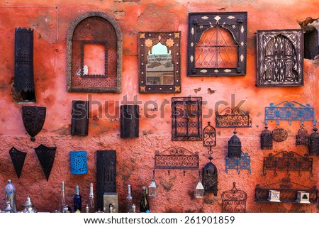 Items for sale in Marrakesh souq, Morocco - stock photo