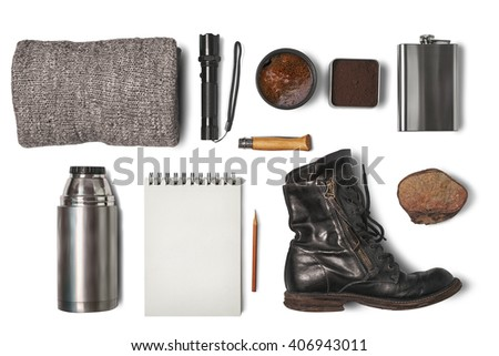items for travel. top view - stock photo