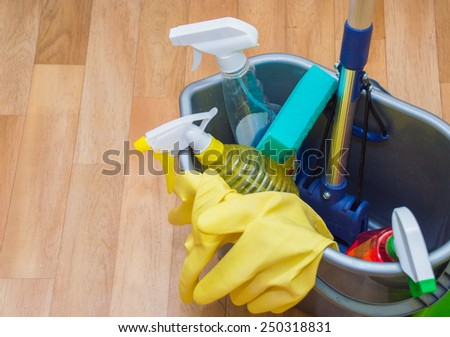 items mop cleaning gloves - stock photo