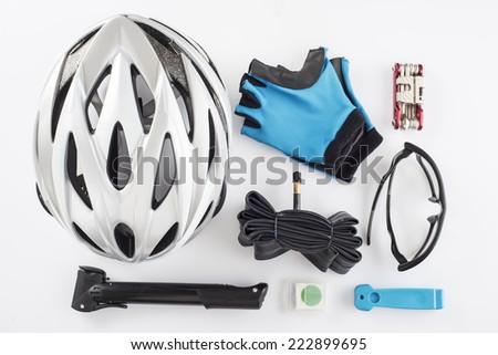 Items replacements and tools for a safe cycling isolated on a white background - stock photo