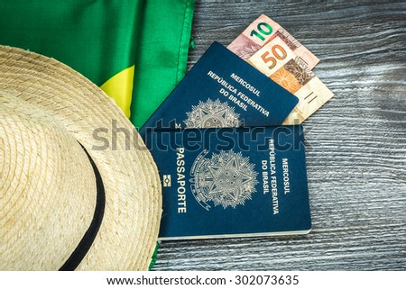 Itens for traveling, Brazilian content - stock photo