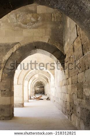 iterior of Sultanhani caravansary on the Silk Road, Turkey - stock photo