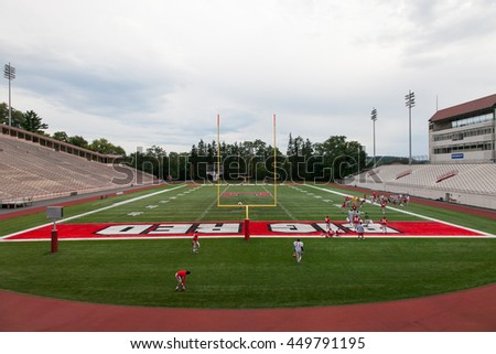 ITHACA, NY, UNITED STATE - Oct 20, 2011 : football training at Schoellkopf football field, Cornell University