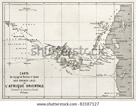 Itinerary old map from Zanzibar to Kazeh. Created by Erhard, published on Le Tour du Monde, Paris, 1860 - stock photo