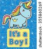 Its a boy. Bright colourful baby shower invitation card with blue cute cartoon unicorn. Raster version. - stock vector