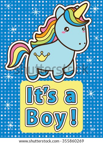 Its a boy. Bright colourful baby shower invitation card with blue cute cartoon unicorn. Raster version. - stock photo