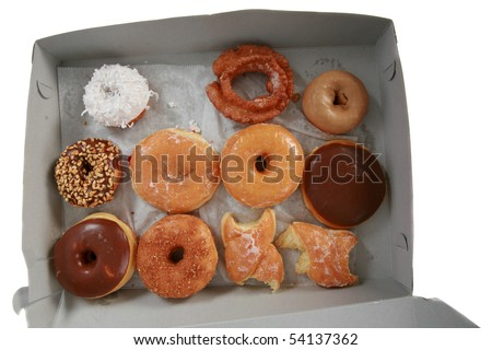 Its Donut Time!  a box of fresh donuts isolated on white - stock photo