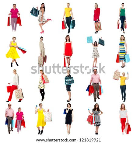 Its shopping time. Collage of male and female shoppers holding vibrant bags.