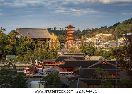 Itsukushima Shrine at Miyajima, Hiroshima, Japan - stock photo