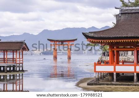 Itsukushima Shrine at Miyajima, Japan - stock photo