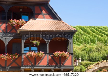 Itterswiller (Bas-Rhin, Alsace, France) red half-timbered house and vineyard at summer