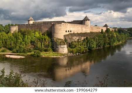 Ivangorod Fortress, Russia. Fortress on the Narva River, on the border with Estonia. - stock photo