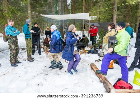 Ivanovo, Ivanovo region, Russia - March 13, 2016: Funny, provocative dance during the feast of Maslenitsa farewell to winter, 13 March 2016, Ivanovo, Ivanovo region, Russia.