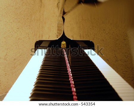 ivory and ebony live together in perfect harmony on my piano. - stock photo