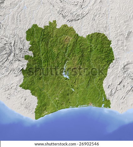 Ivory Coast (Cote d'Ivoir). Shaded relief map. Surrounding territory greyed out. Colored according to vegetation. Includes clip path for the state area.